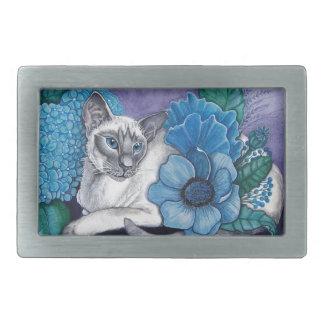 Blauer Punkt-siamesische Katze Rechteckige Gürtelschnallen
