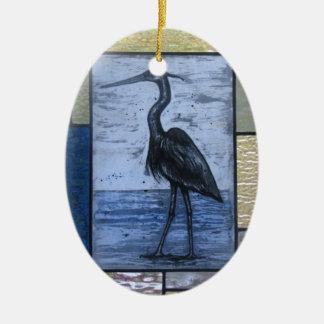 Blauer Reiher mit Blues Keramik Ornament