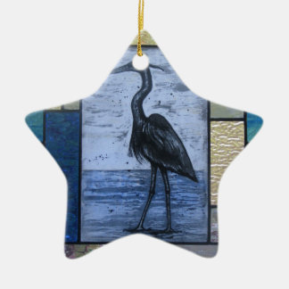 Blauer Reiher mit Blues Keramik Ornament