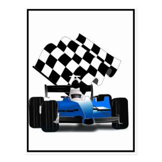Blauer Rennwagen mit Zielflagge Postkarte