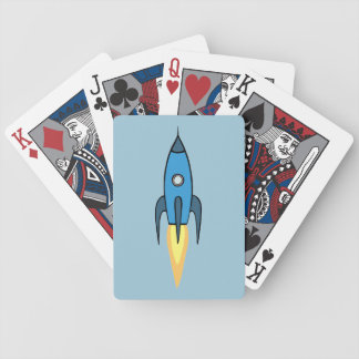 Blauer Retro Rocketship niedlicher Cartoon-Entwurf Bicycle Spielkarten