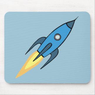 Blauer Retro Rocketship niedlicher Cartoon-Entwurf Mousepad