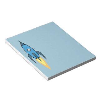 Blauer Retro Rocketship niedlicher Cartoon-Entwurf Notizblock