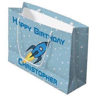 Blauer Retro Rocketship personalisierter Große Geschenktüte