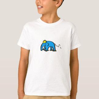 Blauer Rollerblading Elefant mit gelbem Sturzhelm T-Shirt