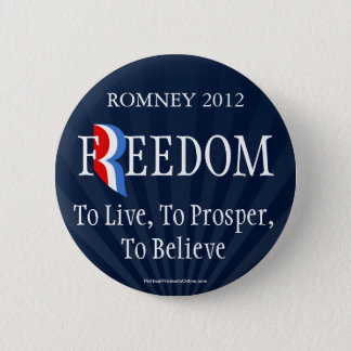 Blauer Romney Freiheits-Revers-Button-Knopf Runder Button 5,1 Cm