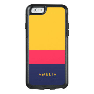 Blauer rosa gelber Farbblock-modernes vibrierendes OtterBox iPhone 6/6s Hülle