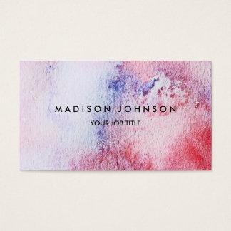 Blauer rosa Spritzer des modernen handgemalten Visitenkarte