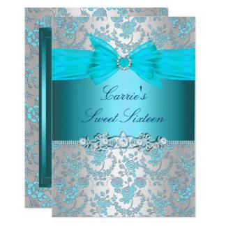Blauer Rosen-Bogen 16. Geburtstag laden ein Karte