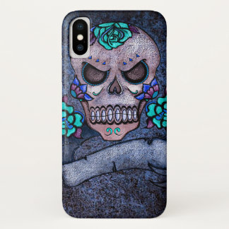 Blauer Rosen-Schädel iPhone X Hülle