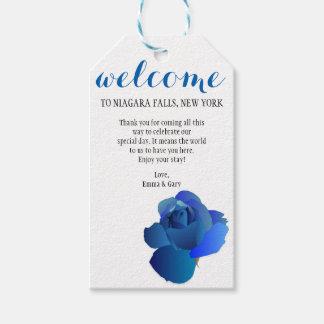 Blauer Rosen-Willkommens-Hochzeits-Geschenk-Umbau Geschenkanhänger