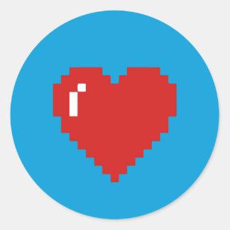 Blauer/roter Spiel-Pixel-Herz-Aufkleber Runder Aufkleber