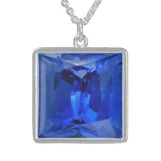 Blauer Saphir 1 Sterling Silberkette