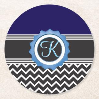 Blauer Saphir-Schwarz-weißes Zickzack Kartonuntersetzer Rund