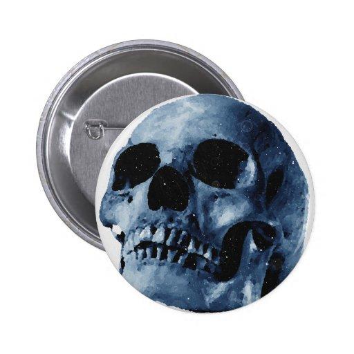 Blauer Schädel Button