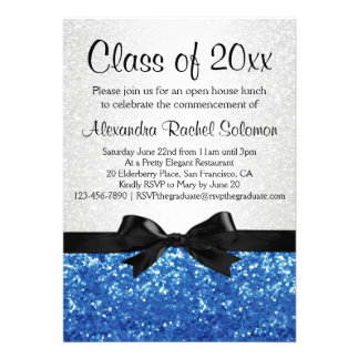 Blauer Schein-Blick Bogen-Abschluss Party Personalisierte Einladungskarten