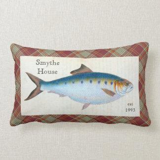 Blauer Schellfisch-Fischekarierter Tartanlumbales Lendenkissen