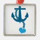 Blauer Schiffsozeananker Silbernes Ornament