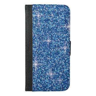 Blauer schillernder Glitter iPhone 6/6s Plus Geldbeutel Hülle