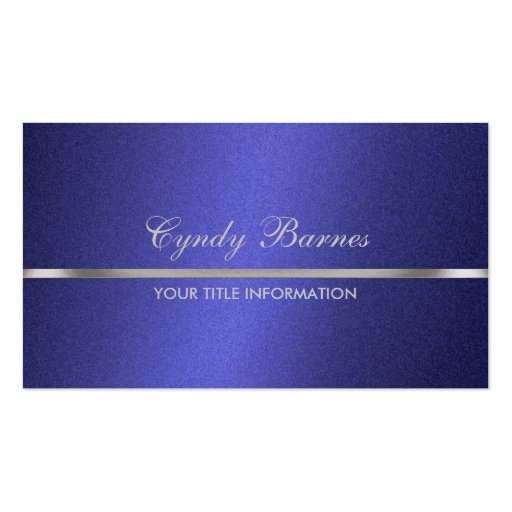 Blauer Schimmer mit silberner Visitenkarte