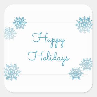 Blauer schimmernder schicker Schneeflocke-Feiertag Quadratischer Aufkleber