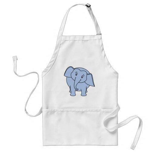 Blauer schläfriger Elefant. Karikatur Schürze
