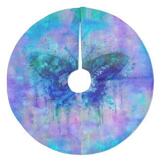 Blauer Schmetterling Fleece Weihnachtsbaumdecke