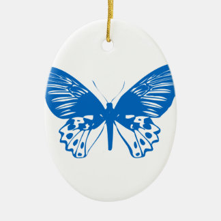 Blauer Schmetterling Ovales Keramik Ornament