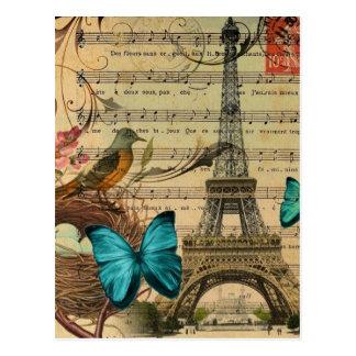 Blauer Schmetterling Robin-Vogelnest Postkarte