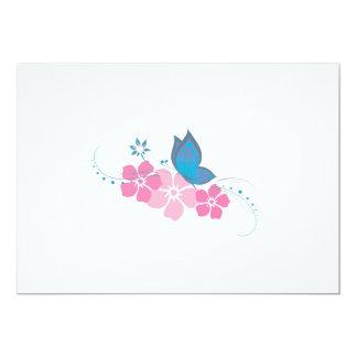 blauer Schmetterling, rosa Blumen 12,7 X 17,8 Cm Einladungskarte