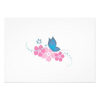 blauer Schmetterling rosa Blumen Ankündigungskarten