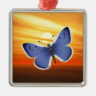 Blauer Schmetterling Silbernes Ornament
