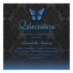 Blauer Schmetterling u. Damast Quinceanera laden Personalisierte Einladungskarte