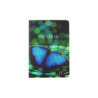 Blauer Schmetterlings-Monogramm-Pass-Halter Passhülle