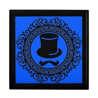 blauer Schnurrbarthut-Hipster-Andenkenkasten Schmuckschachtel