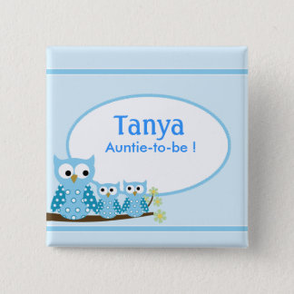 Blauer Schrei-Eulen-Babyparty-Namensschild-Knopf Quadratischer Button 5,1 Cm