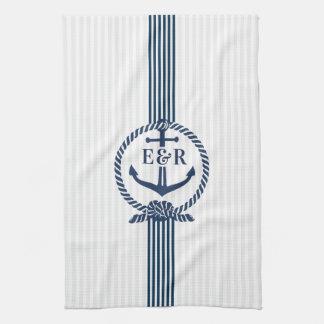 Blauer Seeanker-Knoten u. Streifen-Monogramm Handtuch