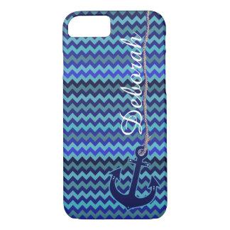 blauer Seeanker personalisiert iPhone 8/7 Hülle