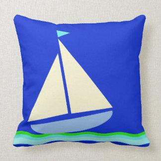 Blauer Seeanker-Streifen Kissen