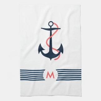 Blauer Seeboots-Anker-dekorative blaue Streifen Handtuch