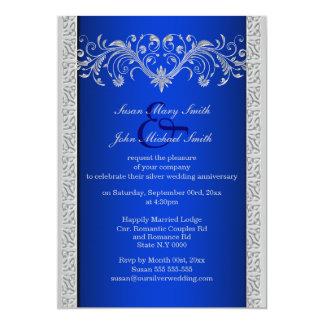 Blauer silberner Hochzeitstag mit Blumen 12,7 X 17,8 Cm Einladungskarte