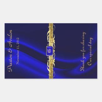 Blauer Silk Goldrolle-Hochzeits-Wein-Aufkleber Rechteckiger Aufkleber