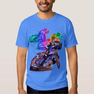 Blauer Speedway-Motorrad-Rennläufer T Shirt