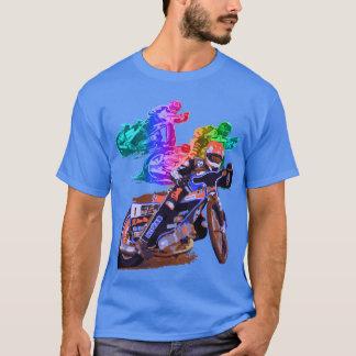 Blauer Speedway-Motorrad-Rennläufer T-Shirt