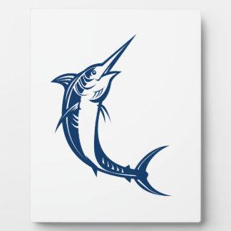 Blauer Speerfisch-Springen Retro Fotoplatte