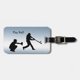 Blauer Spiel-Ball-Baseball trägt Gepäckanhänger