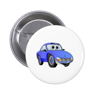 Blauer Sport-Auto-Cartoon Anstecknadelbuttons