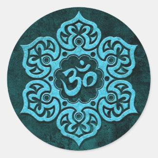 Blauer Stein Blumenom Runder Sticker