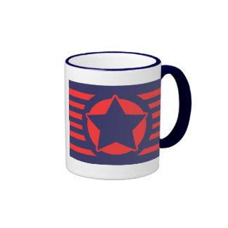 Blauer Stern auf den roten u. blauen Streifen Ringer Tasse