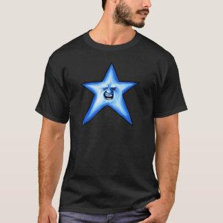 Blauer Stern Funkeln des smiley T-Shirt